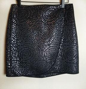 NWT Loft Black Metallic Print Wrap Skirt